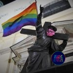 Polish Feminist Activists gave a rainbow make-over to a Jesus' statue.